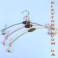 Вешалки плечики тремпеля бельевые с прищепками (для комплектов нижнего белья, трусов), розовое золото