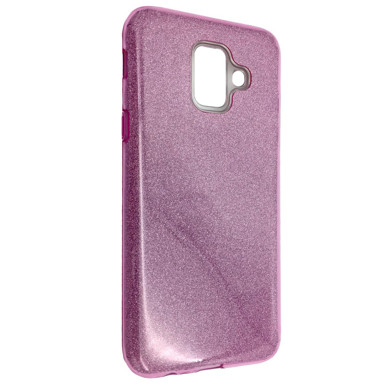 Чехол Silicone Glitter Heaven Rain Samsung A6 Plus (2018) (pink)