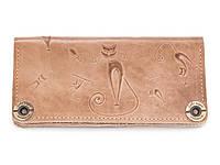Кошелек кожаный, бумажник, женский Gato Negro Catswill Ivory ручной работы
