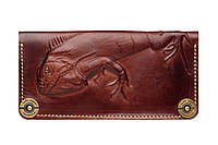Кошелек кожаный, бумажник Gato Negro Iguana Brown ручной работы