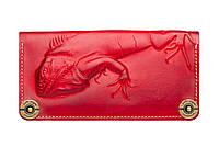Кошелек кожаный, бумажник Gato Negro Iguana Red ручной работы