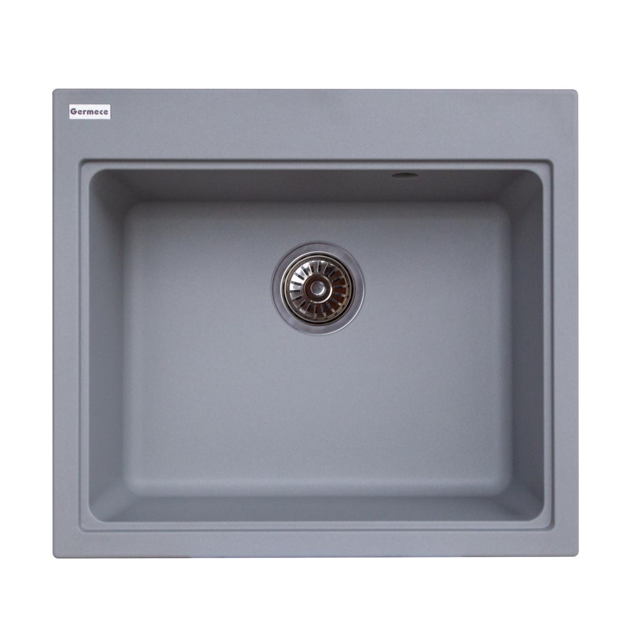 Гранитная мойка Platinum VESTA 5852 матовая серый металлик