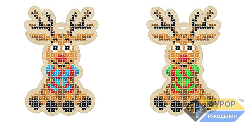 Іграшка новорічна вишивка по дереву 2-х стороння Олень (ИДВ-013)