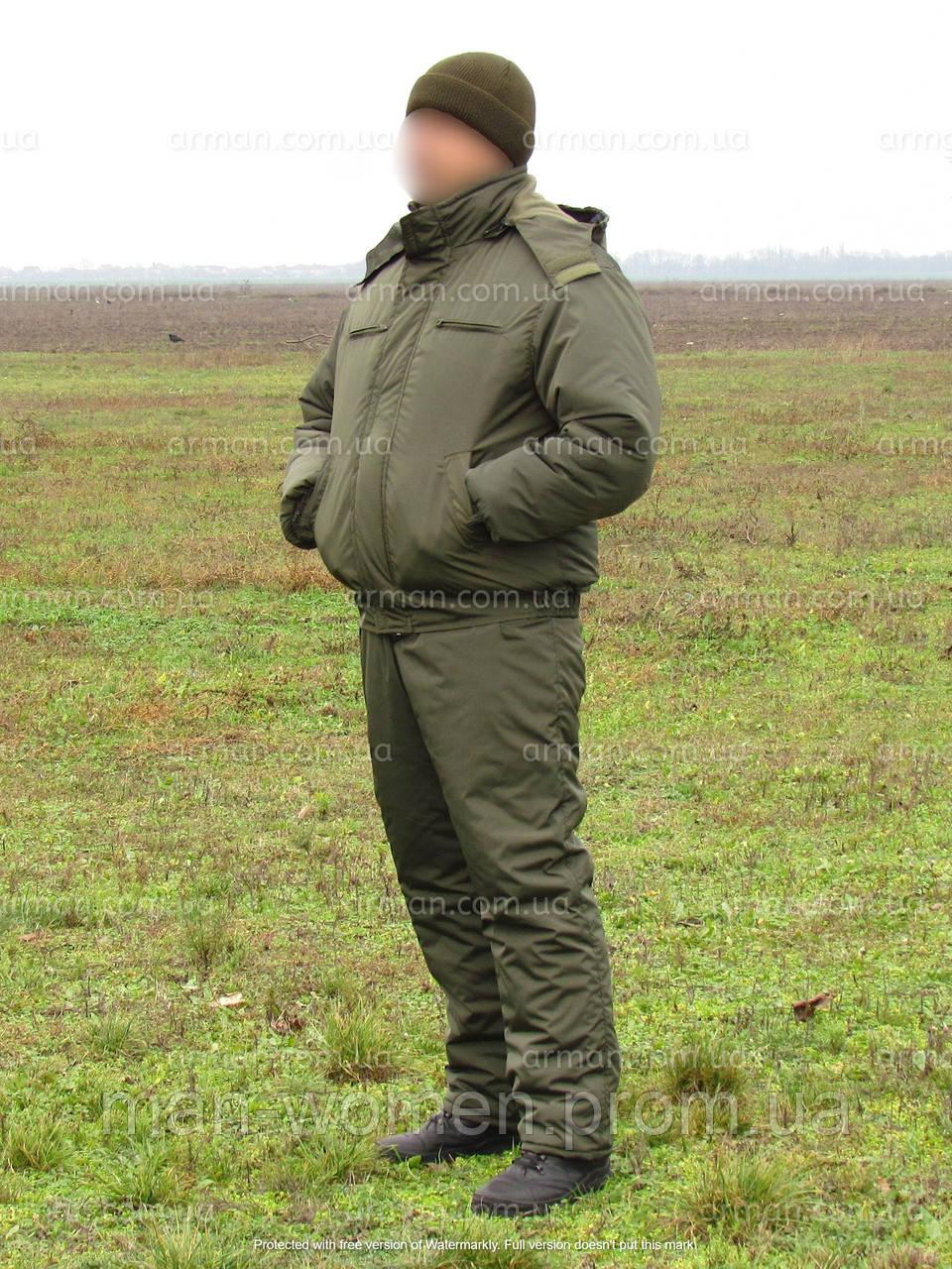 Тёплый зимний костюм для охраны. Влаго-ветрозащитный. Ткань нейлон на синтепоне и флисовом подкладе.