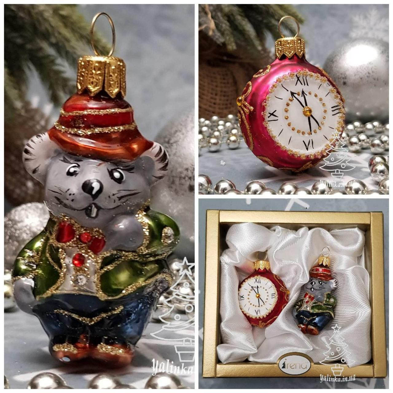 Набор стеклянных елочных игрушек Мышонок и часы Irena
