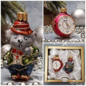 Набор стеклянных елочных игрушек Мышонок и часы Irena, фото 2