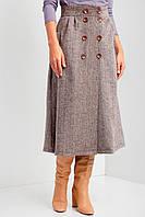 Коричневая теплая юбка трапеция CHANCE с пуговицами спереди и боковыми карманами