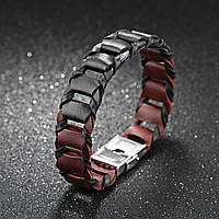 Кожаный браслет мужской коричнево-черный