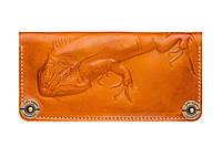 Кошелек кожаный, бумажник Gato Negro Iguana Orange ручной работы