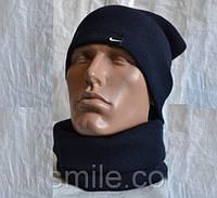 Синий комплект шапка +шарф труба-бафф