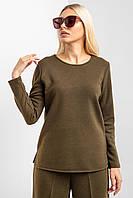 Теплый свитшот DANA из трикотажа вязка болотного цвета с круглым горлом и длинными рукавами