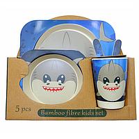 Набор детской бамбуковой посуды Акула