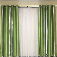Шторы на люверсах в спальню Блэкаут 150x270 см (2 шт) ALBO Зеленые в полоску (SH-201-8)
