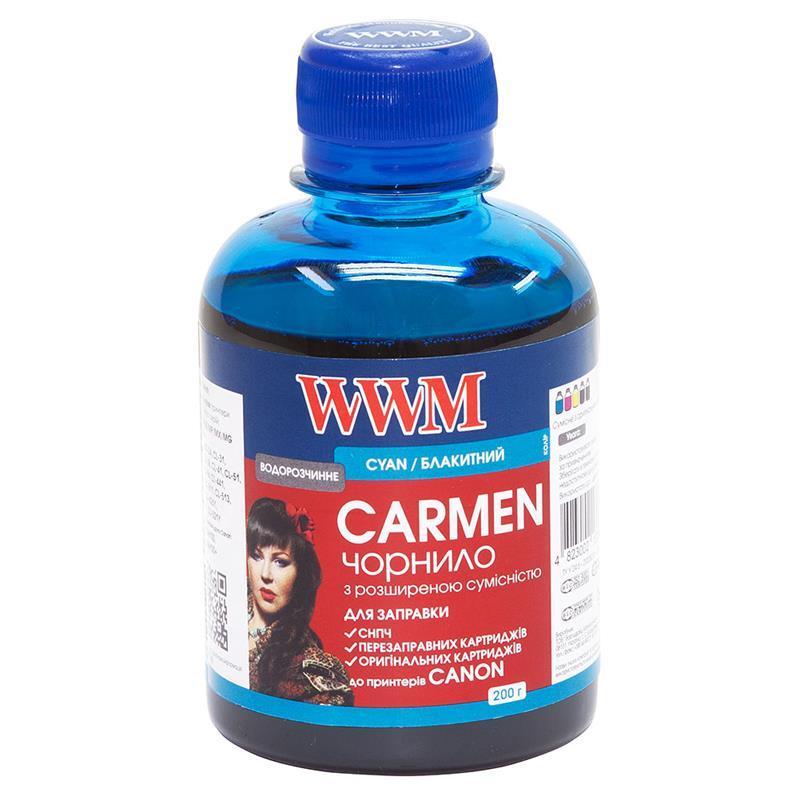 Чернила WWM Universal Carmen для Сanon серий PIXMA iP/iX/MP/MX/MG Cyan (CU/C) 200г