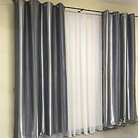 Полосатые шторы на люверсах Блэкаут 150x250 cm (2 шт) ALBO Серые (SH-201-10), фото 1