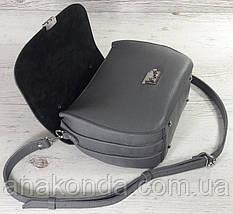 581-1 Натуральная кожа Сумка женская серая Кожаная сумка серая с клапаном Сумка из натуральной кожи серая, фото 3