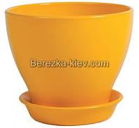 Горшок керамический глянец желтый (диаметр 11,5 см.)
