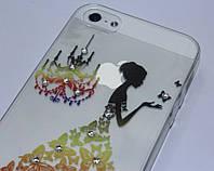 Чехол для iPhone 5 5S силиконовый со стразами