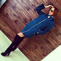 Пальто женское Сакура синее , магазин пальто
