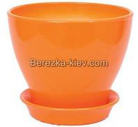 Горшок Горшок керамический глянец оранжевый (диаметр 11,5 см.)