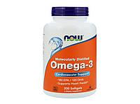 Омега-3 Omega-3, Now Foods, поддержка сердца 180 EPA/120 DHA, 200 капсул