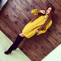 Пальто женское Сакура желтое , купить пальто женское
