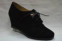 Черные замшевые туфли Еrisses на танкетке  со  шнурками. Маленькие размеры.