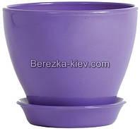 Горшок керамический глянец фиолетовый (диаметр 8,5 см.)