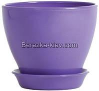 Горшок керамический глянец фиолетовый (диаметр 11,5 см.)