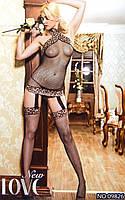 Эротическое боди (кэтсьюит)  с леопардовыми вставками Yilianna Oks 09826 /031