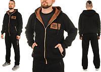 Р-р 50-56, Мужской спортивный теплый трикотажный костюм со вставками из замши