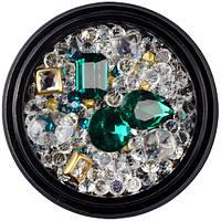 Камни для декора ногтей LPnails зеленые микс