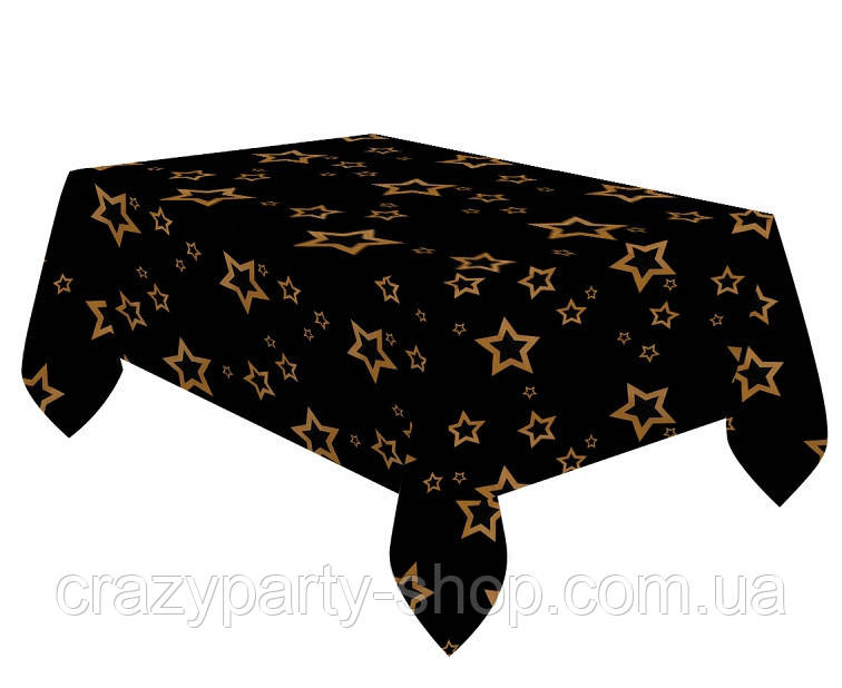 Скатерть праздничная   черная Звезды