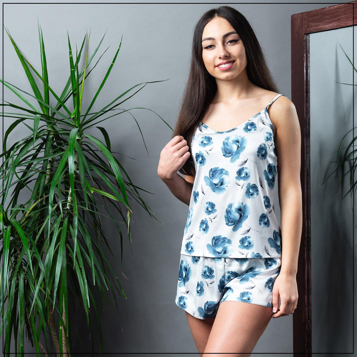 """Пижама женская """"Синие цветы"""" Шелк, майка и шорты"""