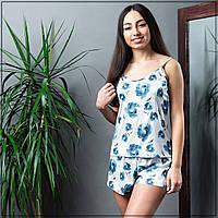 """Пижама женская """"Синие цветы"""" Шелк, майка и шорты, фото 1"""