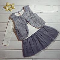 ✅Платье нарядное для девочки Платье с меховым болеро Размеры  98