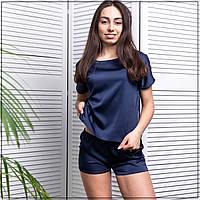 """Пижама женская """"Темно-синяя"""" Шелк, футболка и шорты, фото 1"""