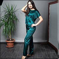 """Пижама женская """"Зеленая"""" Шелк, футболка и штаны, фото 1"""