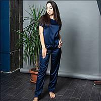 """Пижама женская """"Темно-синяя"""" Шелк, футболка и штаны"""