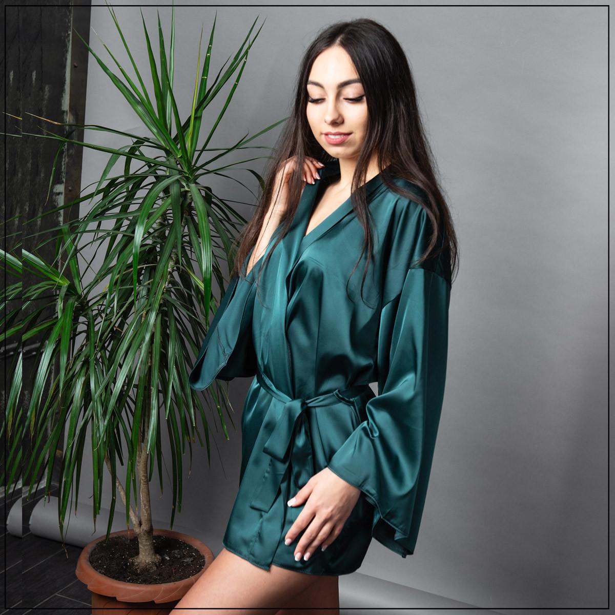 """Халат женский """"Зеленый"""" Шелк"""