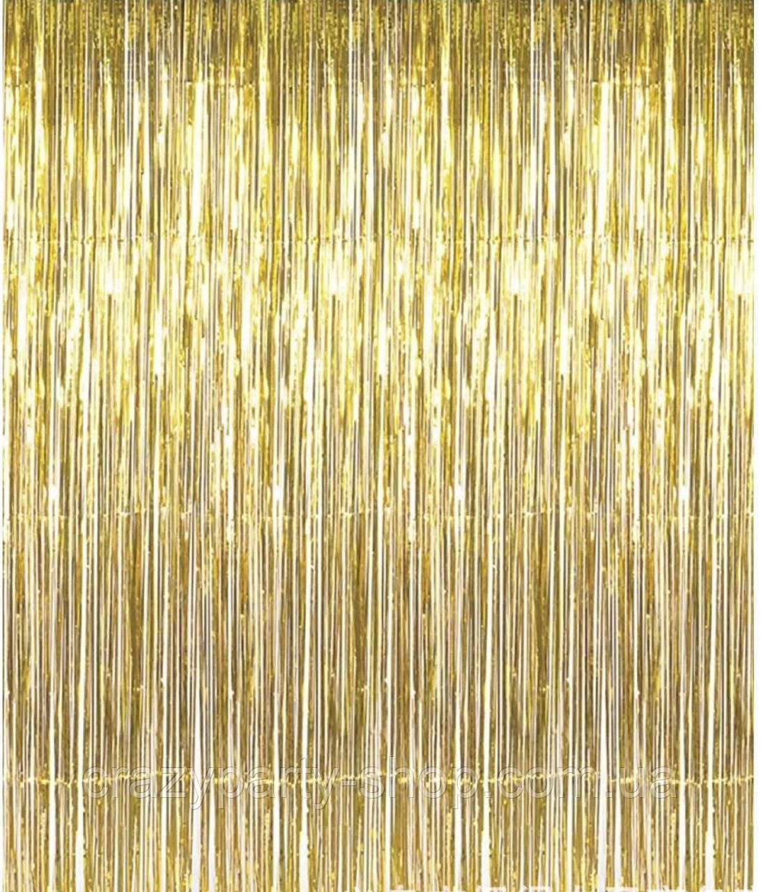 Шторка из фольги для фото  зоны  золотистая 2 мх 1 м