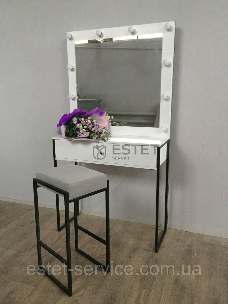 КОМПЛЕКТ Гримерный стіл + Стілець на ніжках ЧОРНОГО кольору М616