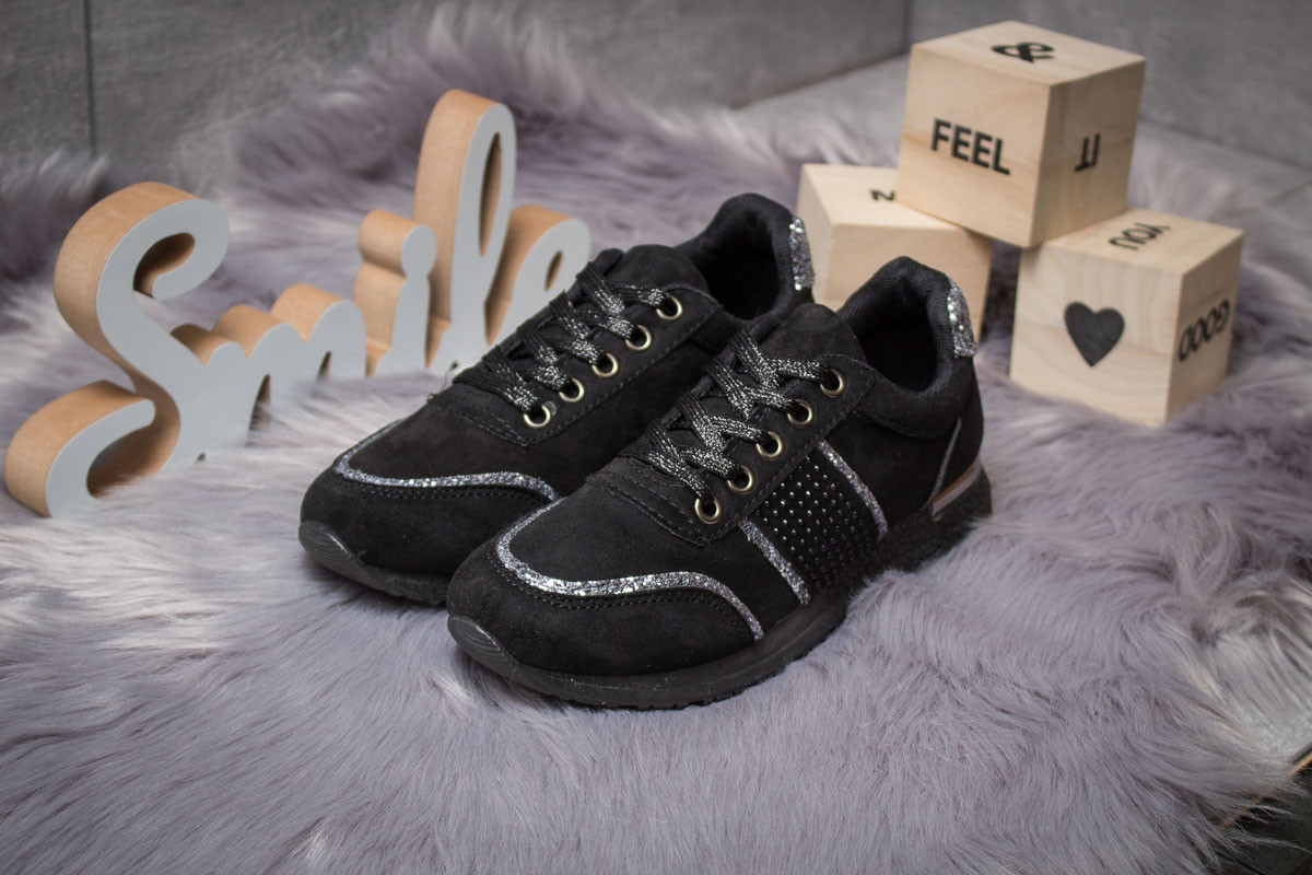 Кроссовки женские  Ideal Black, черные (14281) размеры в наличии ► [  36 37 38  ]
