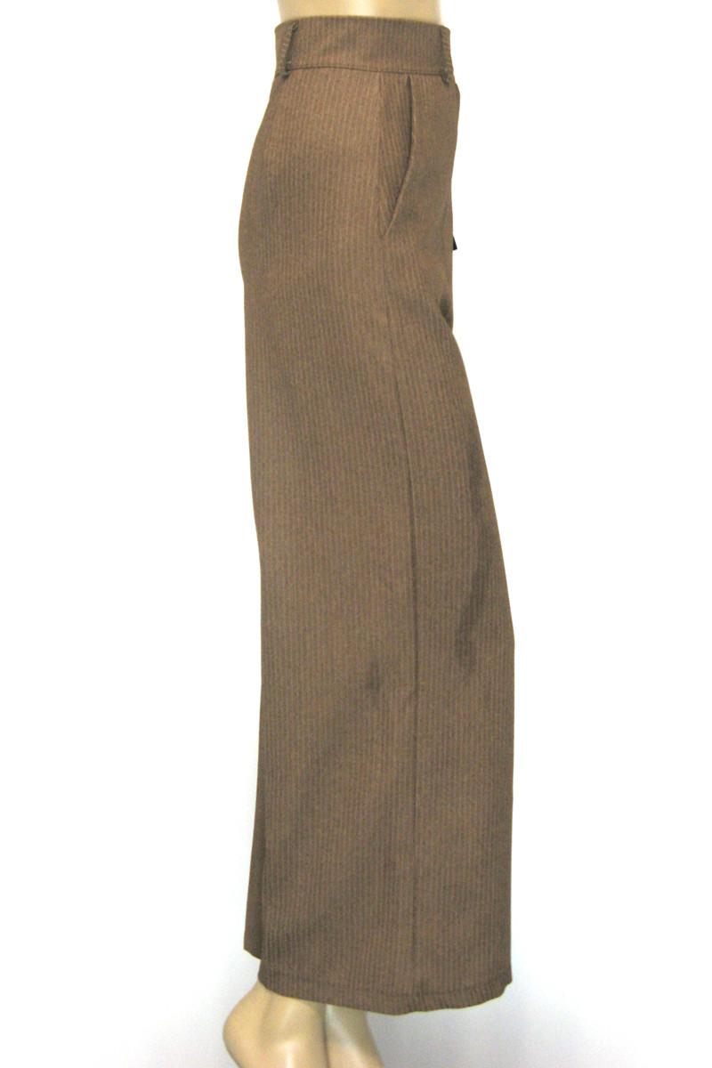 Жіночі широкі брюки коричневого кольору в полоску