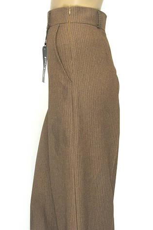 Жіночі широкі брюки коричневого кольору в полоску, фото 2