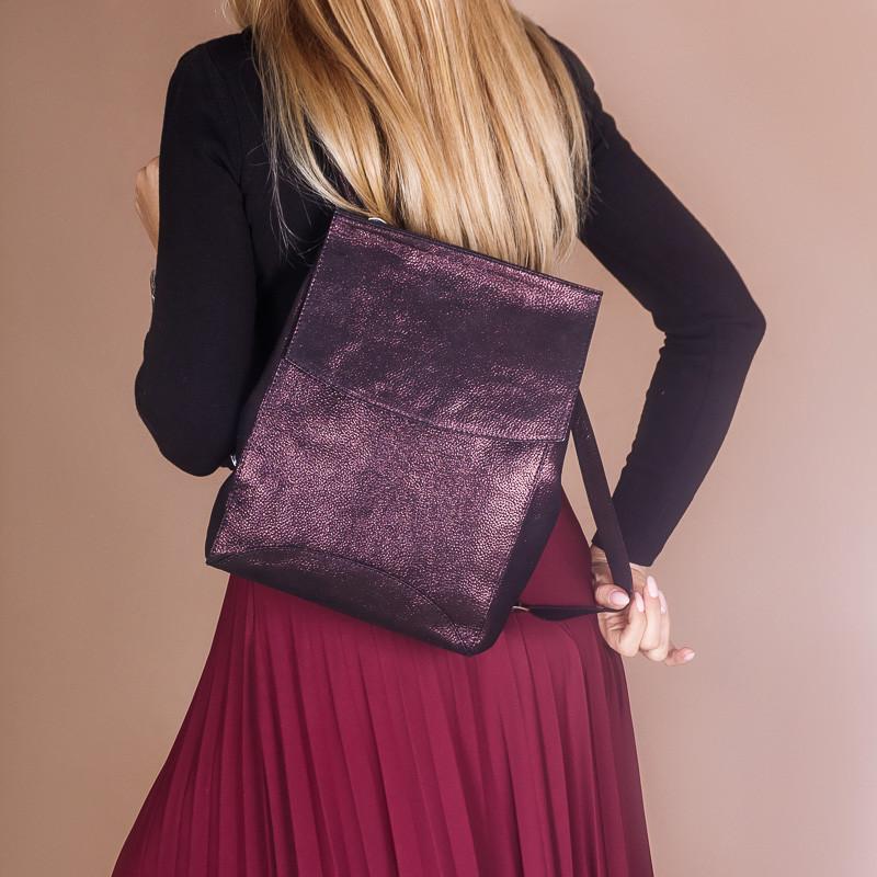 Рюкзак кожаный бордовый с перламутром, под заказ в любом цвете.