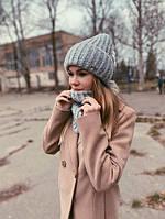 Теплый женский комплект шапочка шарф-снуд