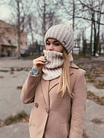 Теплый женский комплект шапочка шарф-снуд, фото 1