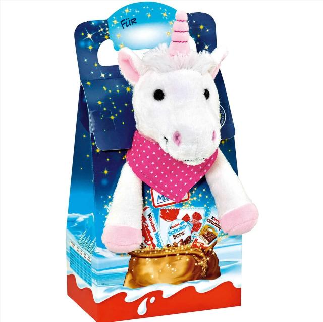 """Новогодний набор сладостей Kinder Maxi Mix с мягкой игрушкой """"Единорог"""""""
