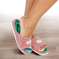 Акупунктурные массажные тапочки Шиацу для здоровья ног (красные, р. 36-38)